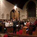The Cantemus choir during soundtrack recording in Billingborough church.